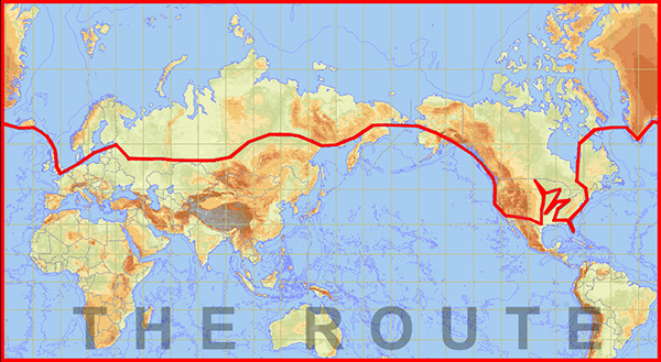 Flight path for 2004 around the world record flight.