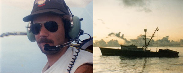 Photos of Markus during his time flying off tuna boats in the Pacific.