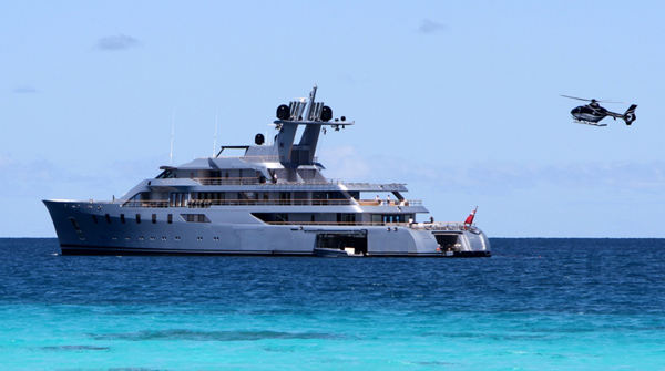 Helicopter landing on superyacht