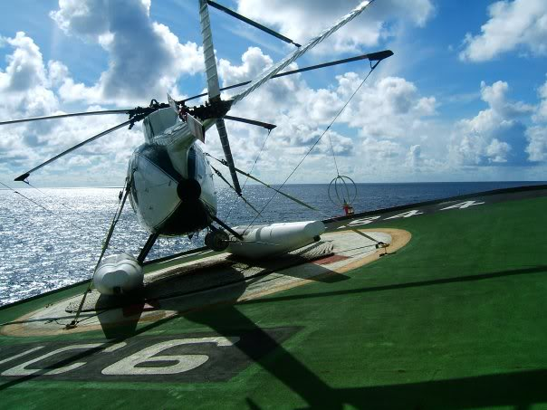 A well secured MD500 on a rolling deck. Note the tiedown straps - Moggy has a lot to say in the Manual about trying to take off with one of these still attached.