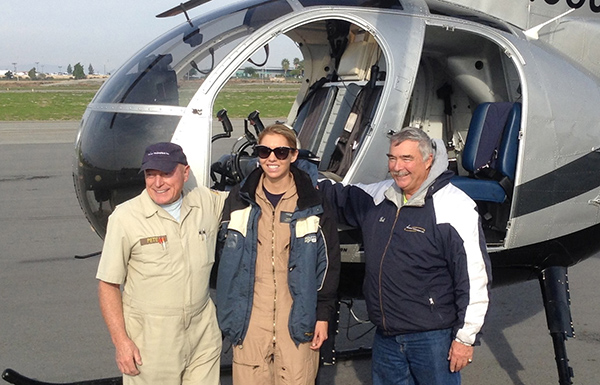 Pete Gillies with Bob Spencer(Chief Instructor, Western Helicopters) and a Whirly-Girl scholarship winner