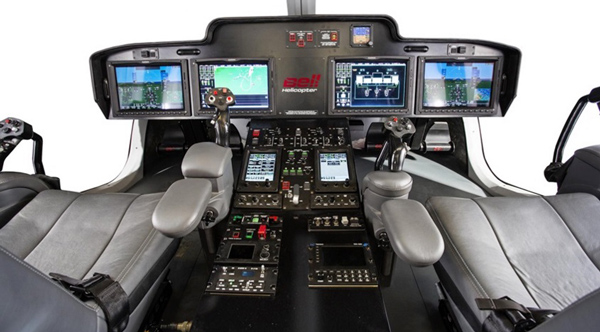 The ARC Horizon flight deck system and side positioned fly-by-wire controls make the 525 Relentless cockpit appear sparse. Photo: Bell Helicopter
