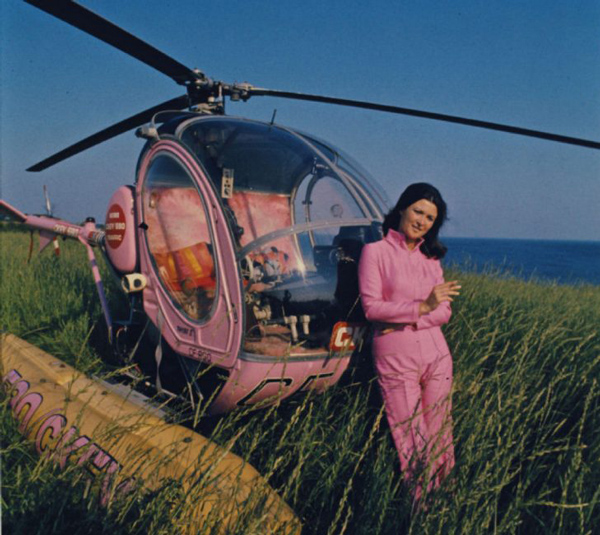 'Be remarkable' if you want people to talk about your company. A pink helicopter and flight suit certainly achieves that.