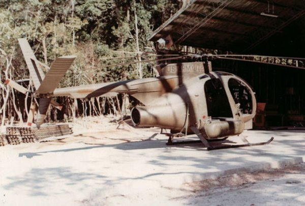 A modified OH-6 used for stealthy trips across the Laos border - one of many stories in The God Machine